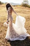 Romantic Long Appliques Backless Lace Mermaid Ivory Long Sleeve Wedding Dresses WK294