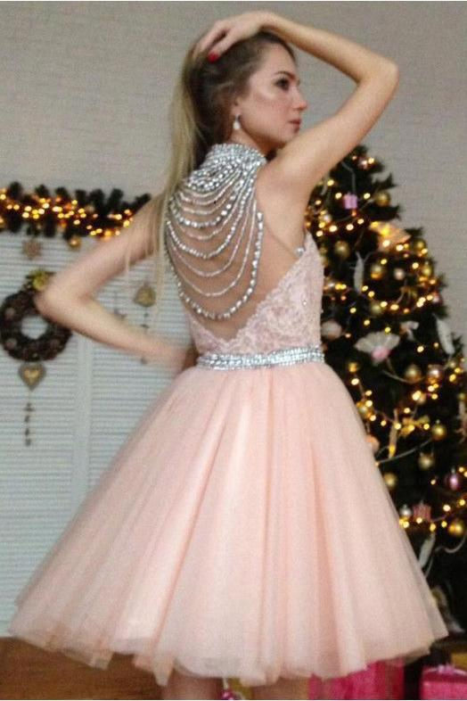 Cute Pearl Pink Tulle Appliques Silver Beads V Neck Short Homecoming Dresses WK880