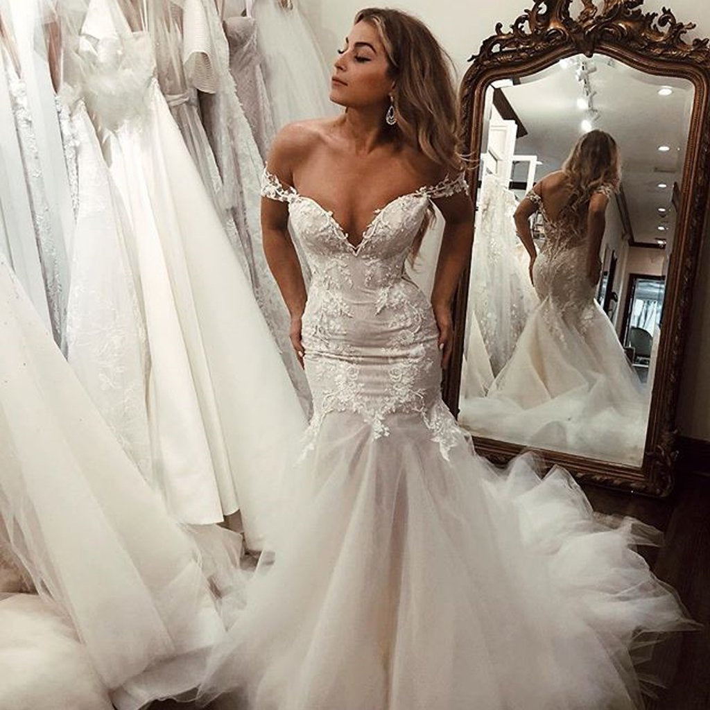 Off the Shoulder Mermaid Tulle Wedding Dresses Lace Appliques Bridal Gown WK448