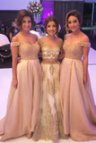 2020 Off-the-Shoulder Sweetheart Long Pink A-Line Beads Open Back Bridesmaid Dresses WK594