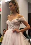 A Line Sweetheart Beaded Off the Shoulder Pink Long Prom Dresses Wedding Dress WK132