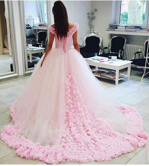 Pink Long Sleeveless Flowers Off the Shoulder Lace up Tulle Ball Gown Wedding Dresses WK369