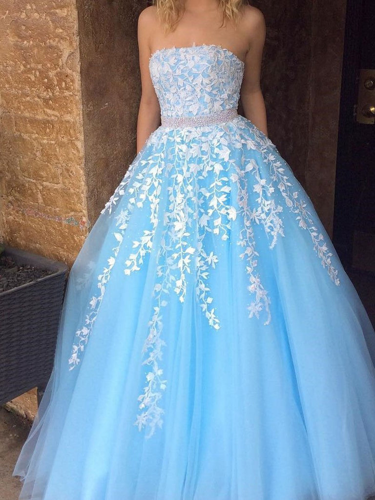 A Line Sky Blue Strapless Lace Appliques Tulle Beads Pockets Floor Length Prom Dresses WK770