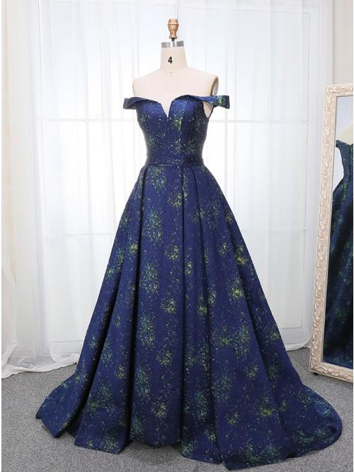 A Line Off the Shoulder Long Navy Blue Prom Dress with Printed Cheap Evening Dresses WK847