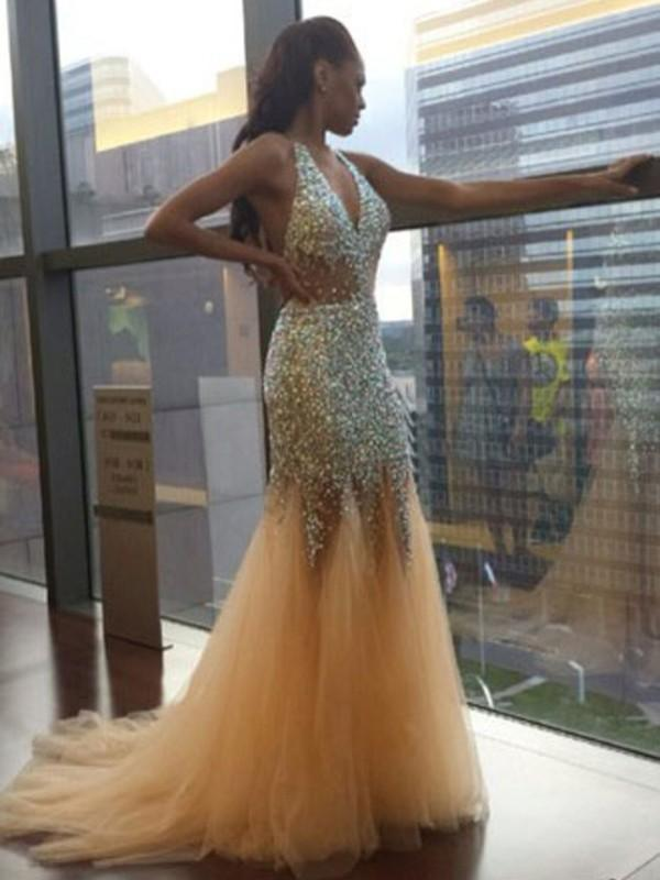 Sexy Unique Deep V Neck Mermaid Sexy Tulle Halter Backless Beads Prom Dresses WK89