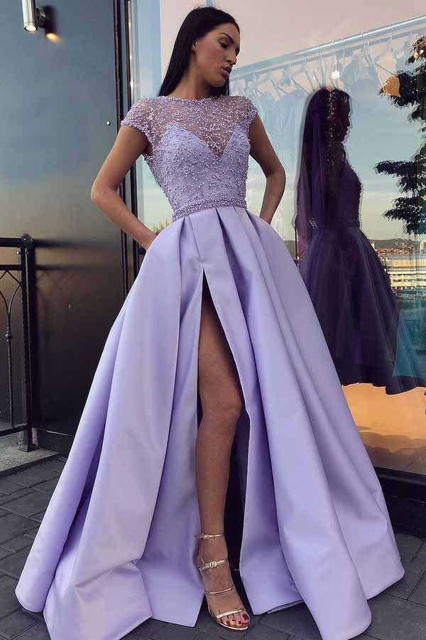 Chic Satin Short Sleeve Scoop Split Beads Purple Slit Open Back Long Prom Dresses WK61