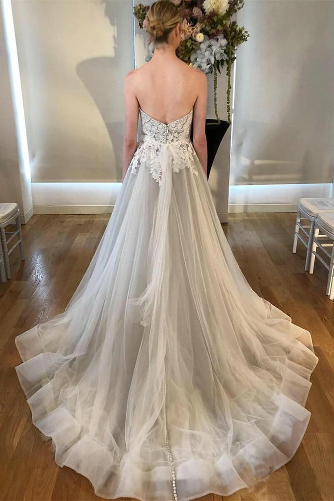 A Line Sweetheart Strapless Backless Silver Grey Tulle Wedding Dresses with Sweep Train WK230