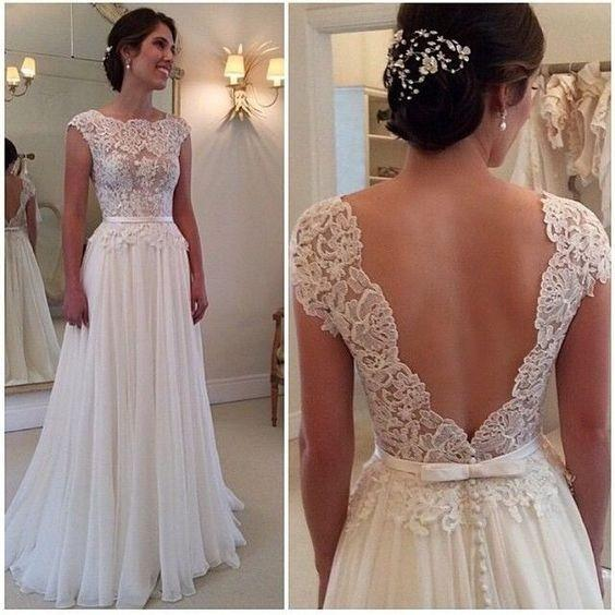A-line Round Neckline Chiffon Lace Long Open Back Sleeves Wedding Dresses WK217