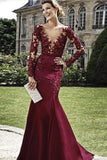 Burgundy Sheath Column V-Neck Floor-Length Elastic Woven Satin Prom Dresses WK415