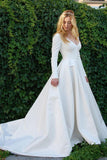 New Elegant Satin Wedding Dresses V Neck Long Sleeve Bridal Gowns Bridal Dresses WK816