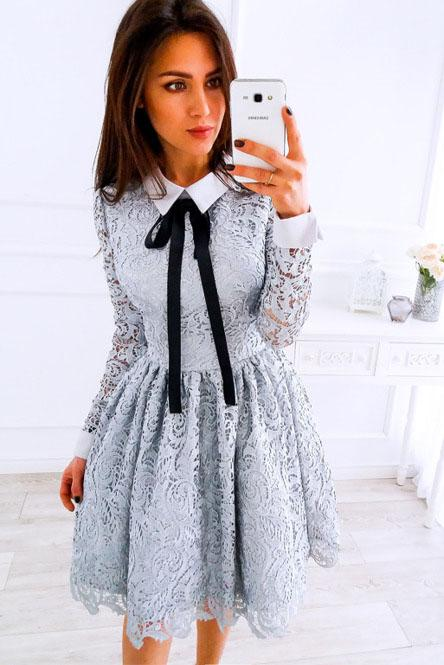 A-Line Crew Long Sleeves Above Knee Grey Lace Short Homecoming Dresses WK19