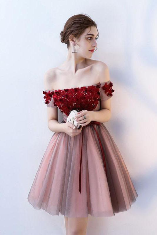 A Line Strapless Off the Shoulder Red Flowers Short Tulle Lace up Homecoming Dresses WK876