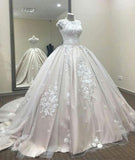 Ball Gown A Line Lace Tulle Appliques Cap Sleeves Scoop Prom Dresses Quinceanera Dress WK812