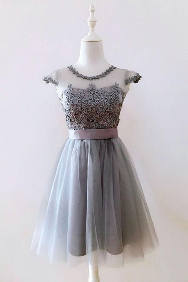 A Line Gray Cap Sleeves Lace up Appliques Tulle Scoop Short Homecoming Dresses WK882