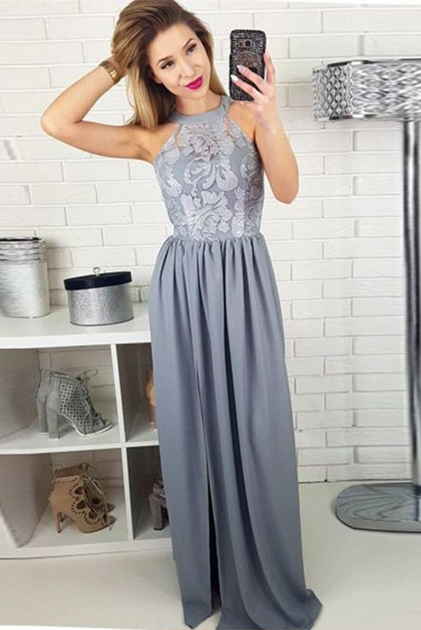 Charming A-Line Round Neck Split Front Grey Satin Sleeveless Prom Dresses with Lace WK442