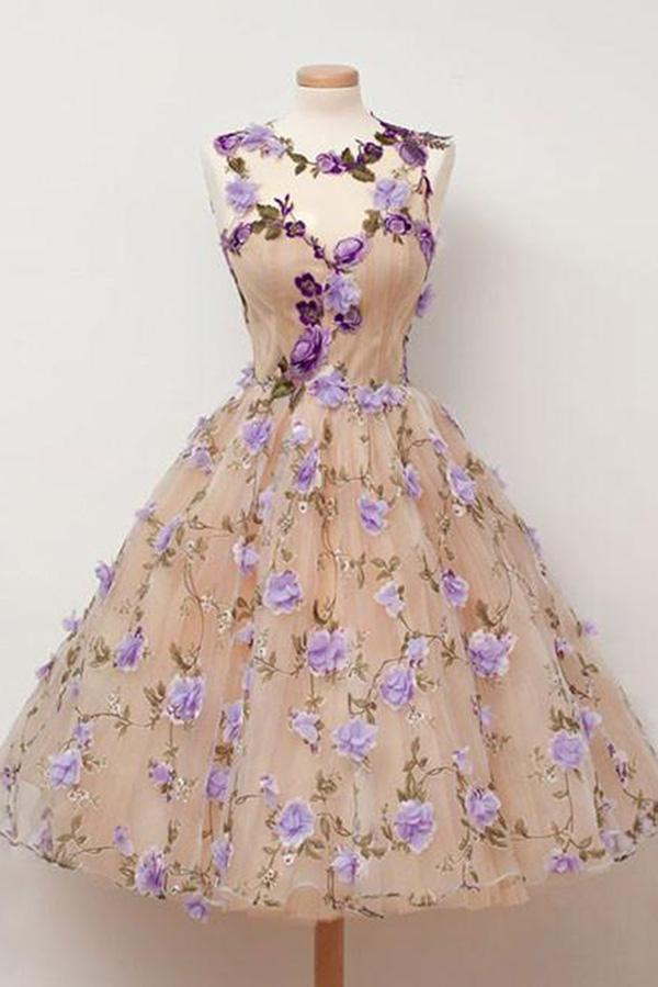 Cute A Line Round Neck Short Tulle Open Back Purple Flowers Homecoming Dresses WK787