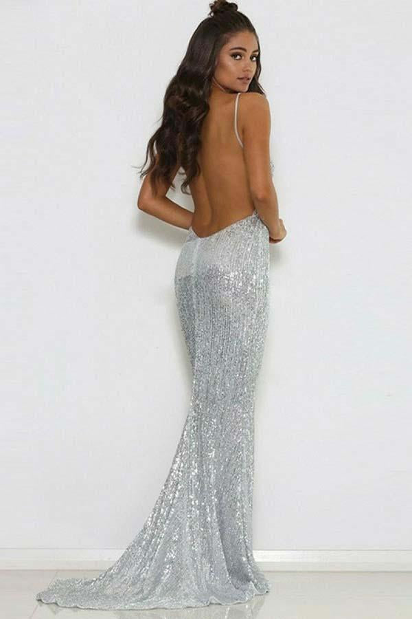 Backless V-neck Sequins Silver Spaghetti Straps Short Train Mermaid Prom Dresses WK503