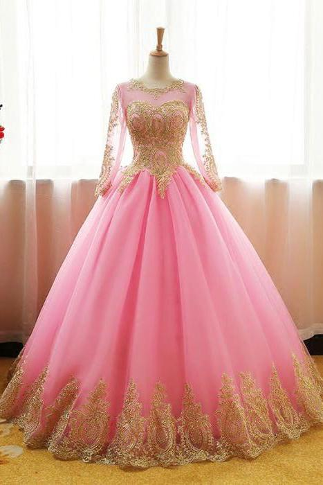 Ball Gown Long Sleeve Gold Rose Red Tulle Round Neck Lace up Prom Quinceanera Dresses WK147