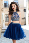 A-Line Dark Navy Princess Jewel Sleeveless Beading Short Mini Tulle Homecoming Dress WK290