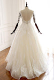 A Line Ivory V Neck Tulle Lace Half Sleeve Organza Long Prom Dresses Wedding Dress WK226