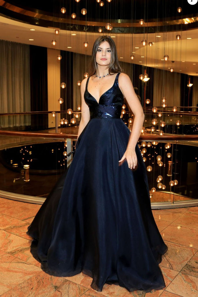 2020 A-Line V-Neck Dark Blue Sleeveless Satin Floor-Length Sweep Train Prom Dresses WK259