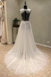 Cheap V-Neck Open Back Tulle Ivory Beach Long Appliques A-Line Sleeveless Wedding Dress WK598