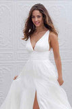 White Long A-Line Chiffon Deep V-Neck Sleeveless Side Split V-Back Wedding Dresses WK387