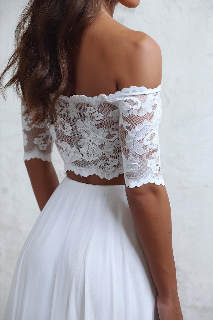 A-Line Long Lace Ivory Chiffon Off the Shoulder Short Sleeve Two Pieces Wedding Dresses WK383
