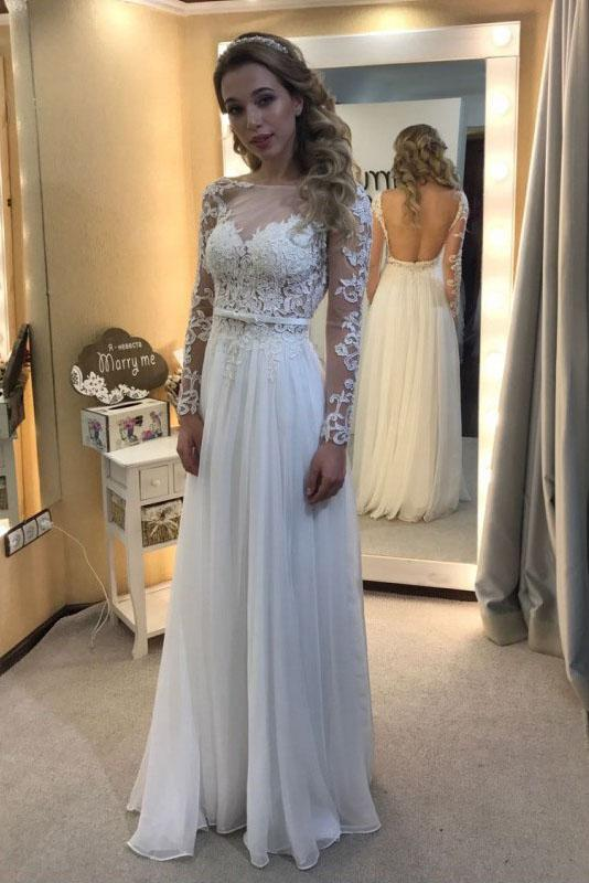 A-line Scoop Neck Chiffon Tulle Appliques Lace Long Sleeve Backless Prom Dresses WK695