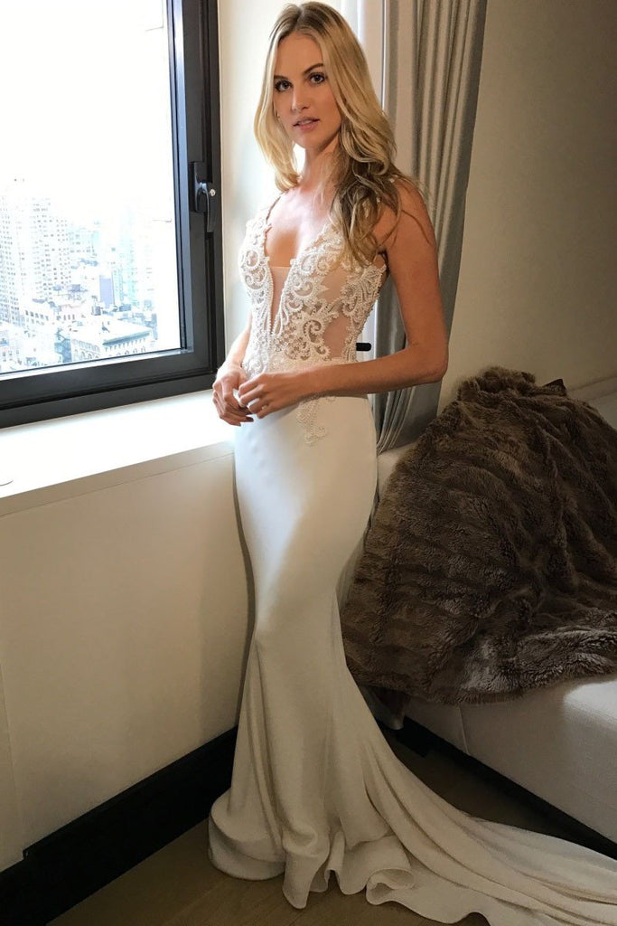 2020 Long Princess Mermaid V-Neck Sleeveless Lace Sexy Ivory Wedding Dresses WK23