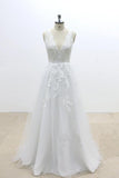 V-Cut shape Back Tulle Lace Appliques A Line Open Back Beach Wedding Dresses WK648