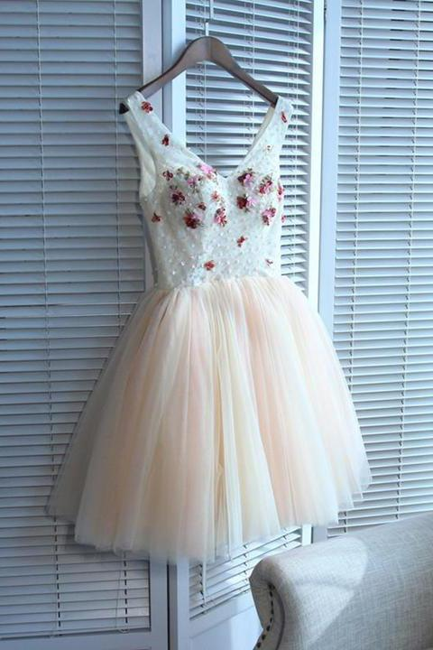 A line V Neck Seam Beads Appliques Tulle Lace up Pink Short Homecoming Dresses WK01
