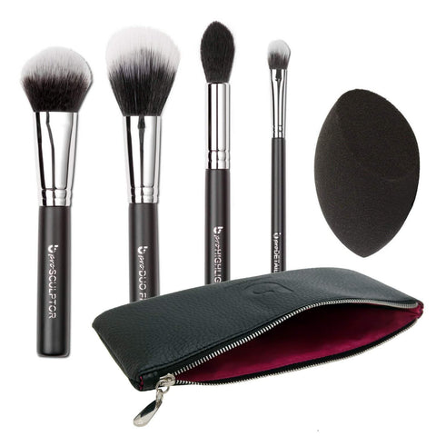 5 Piece pro Contouring & Highlighting Kit with Makeup Brush Case