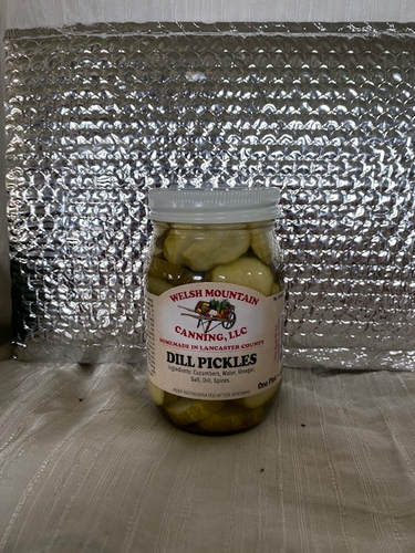An image of a 16 oz. glass jar of Amish dill pickles
