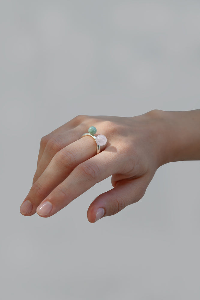 DOUBLE QUARTZ AND JADE RING