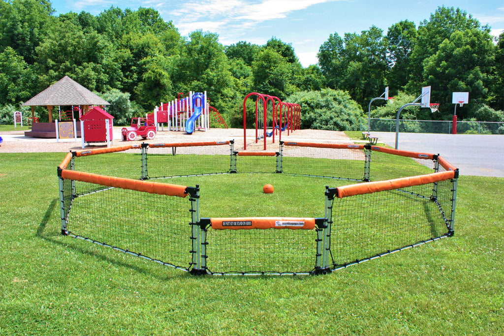 A GaGa pit, also know an octoball court, sits outside by school playground.