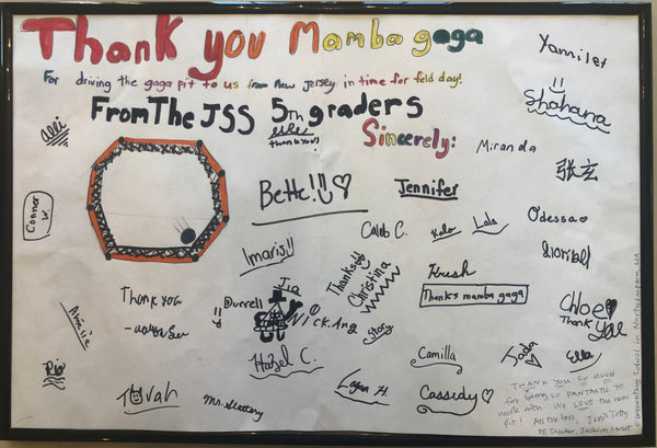 Thank you note to Mamba GaGa from the Jackson Street Elementary School