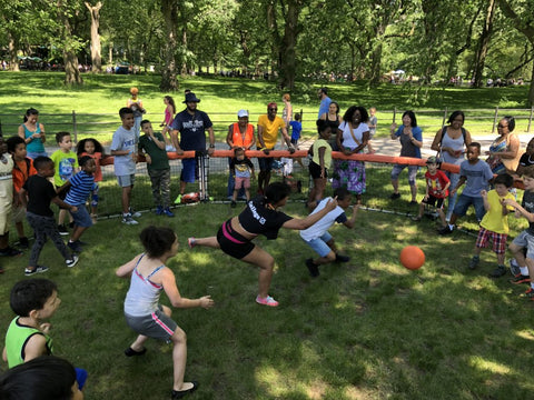 Playing GaGa Ball game in Central Park