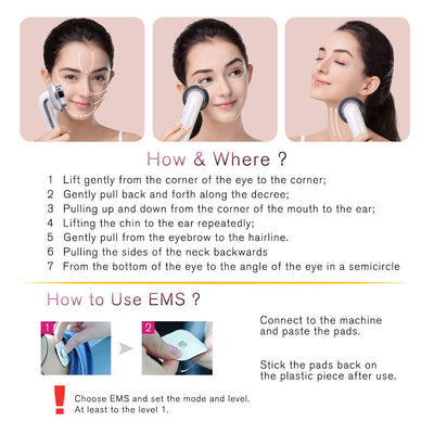 3 in 1 Anti Aging Skin Lift Device EMS Facial Massager