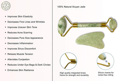 Jade Roller and Gua Sha Set - Luxury Facial Massage Set