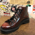SOLOVAIR - BURGUNDY RUB OFF HI-SHINE MONKEY BOOT - BLACK SOLE (7 EYELET) - The British Boot Company LTD