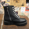 GRINDERS - ROXY X BLACK GREASY LEATHER DERBY BOOT WITH DOUBLE SOLE UNIT (8 EYELET) - The British Boot Company LTD