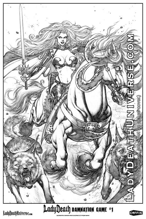 "Lady Death: Damnation Game Graphite 6x9"" Mini Print"