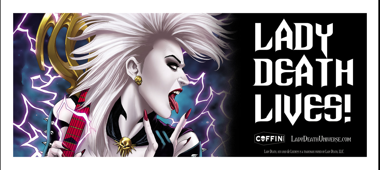 Lady Death Lives! Vinyl Bumper Sticker