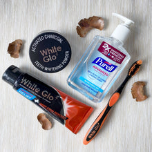 Load image into Gallery viewer, (With Hand Sanitiser) Bundle | Charcoal Deep Stain Remover + Sensitive Relief Toothpaste + Activated Charcoal Powder
