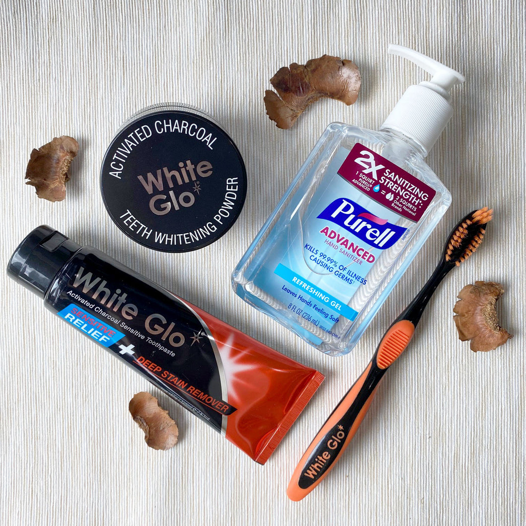 (With Hand Sanitiser) Bundle | Charcoal Deep Stain Remover + Sensitive Relief Toothpaste + Activated Charcoal Powder