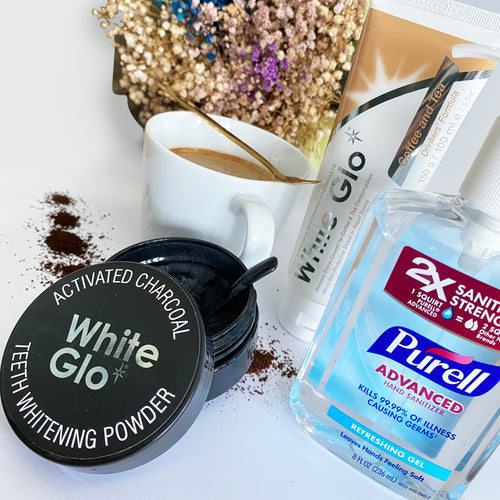 (With Hand Sanitiser) Bundle | Coffee & Tea Drinkers Toothpaste + Charcoal Powder
