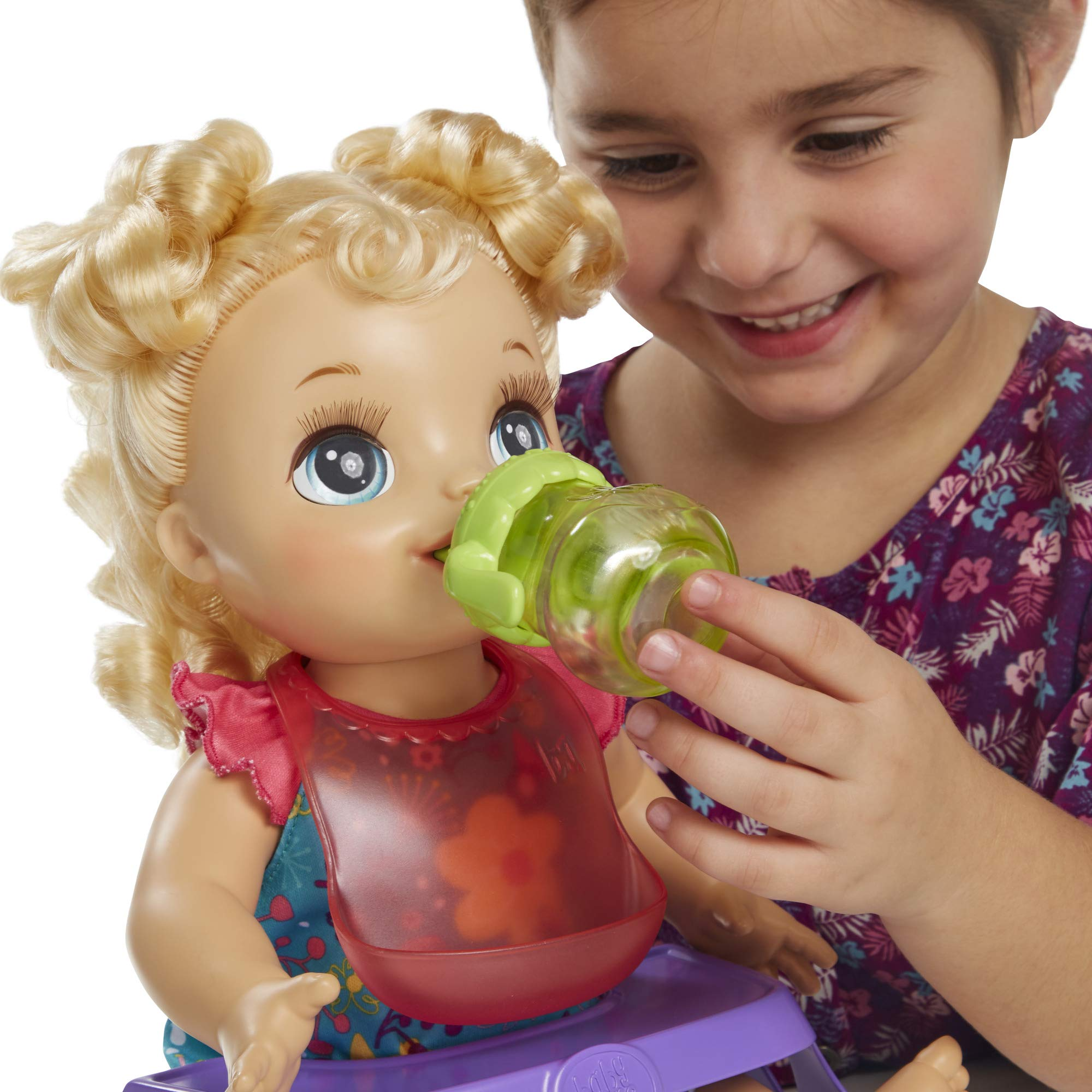 Baby Alive Happy Hungry Baby Blond Curly Hair Doll Makes 50 Sounds Jrtoyhut
