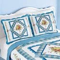 Collections Etc Diamond Rose Floral Pattern Patchwork Pillow Sham with Blue Scalloped Border - Seasonal Décor for Bedroom