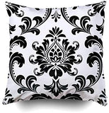 Pamime Square Throw Damask Floral Pattern Royal Flowers Black White Background a Pillow Case Cover Decorative Cushion for Home 18X18Inches(45X45Cm) Pillowcase,Gray Pink